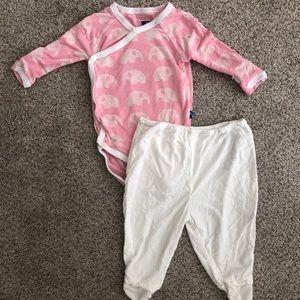 Kickee Pants Ruffle Kimono set size 3-6m
